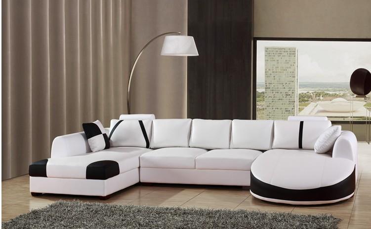 Mobiliário moderno sofá de couro conjunto de móveis de sala em ...