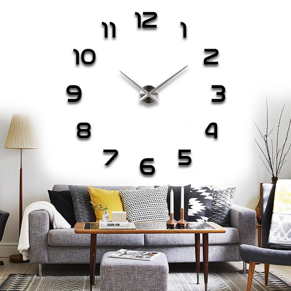 2015 Fashion DIY Large Wall Clock 3D Sticker Metal Big Watches Home Decor Black Promotion