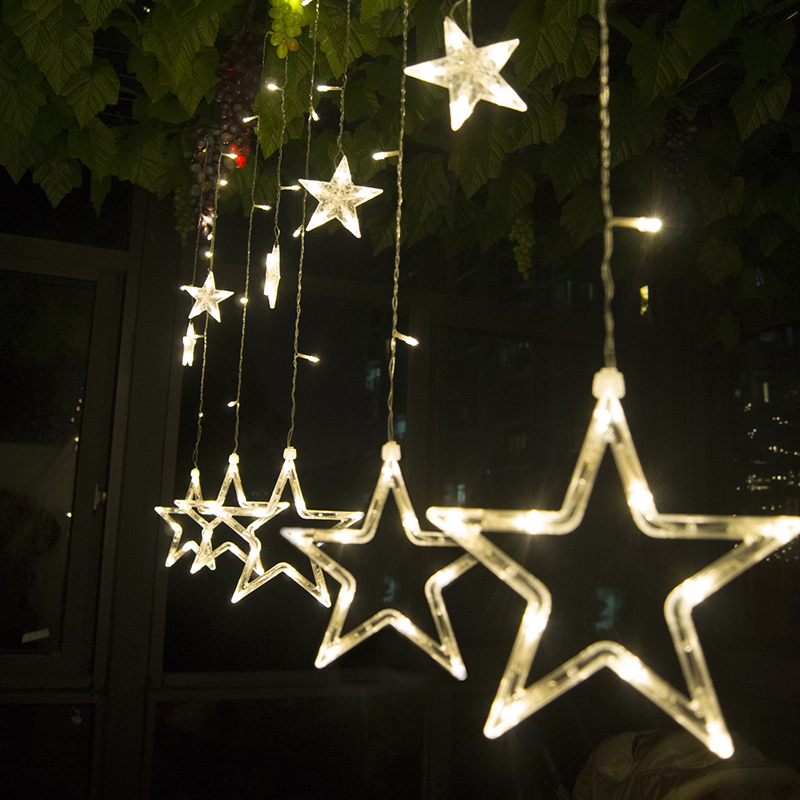 220V Curtain Star string lights 2M 12pcs star 8 Modes Holiday Xmas decoration Light christmas led Fairy String light(China (Mainland))