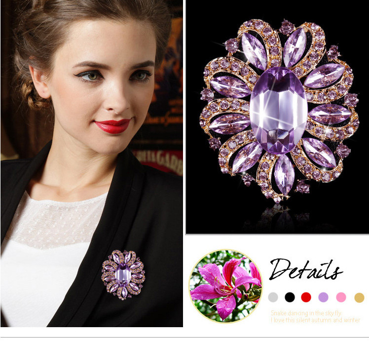 Factory Direct Sale Assorted 6 Colors Women's Crystal and Acrylic Flower Brooch Pins in Gold Plated