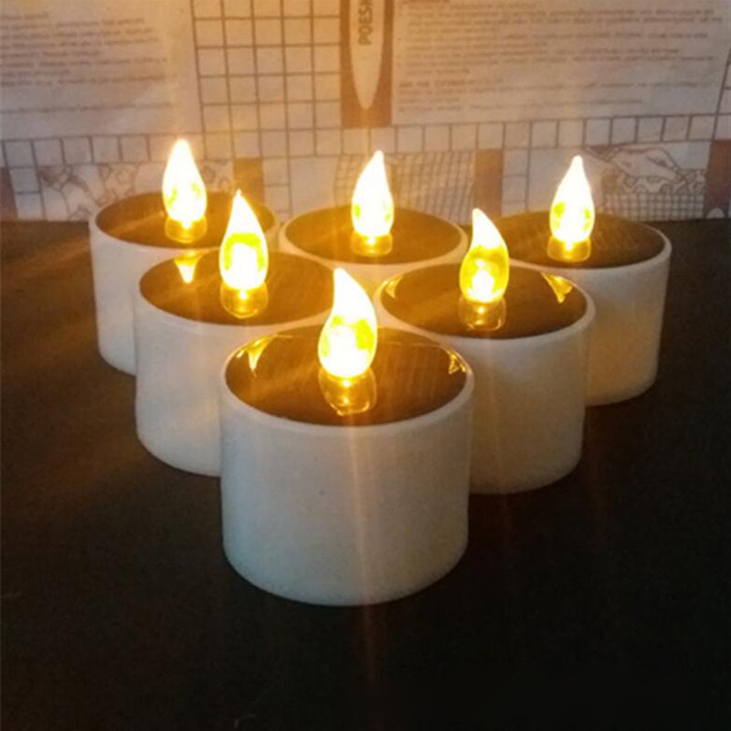 Solar Powered Led Candle Wedding Decoration Romantic Warm White Tea Light Fameless With Tracking Number(China (Mainland))
