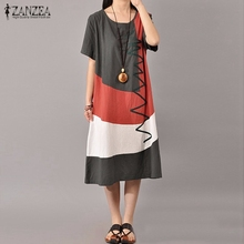ZANZEA Women Vintage Print Dress 2016 Ladies O Neck Short Sleeve Splice Casual Loose Dress Mid-Calf Length Vestidos Plus Size(China (Mainland))