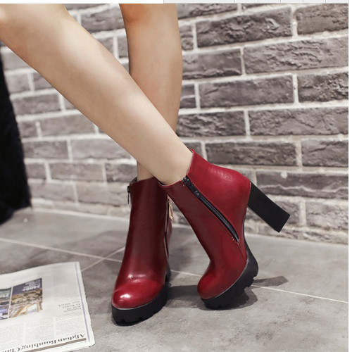 Sexy Lady Popular Winter Warm Ridding Boots Woman Solid Square Heel Buckles Shoes Round Toe Rubber Sole Zip Ankle Boots