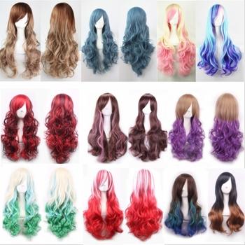 Новое поступление популярные горячие ombre цвет синтетический корейский лолита волос парики, длинные волнистые kanekalon волокна женщин сексуальный стиль волос парик