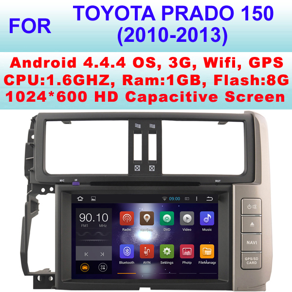 Android Car DVD Player For Toyota Prado 150 Car audio (2010-2013) With Android 4.4.4,Support WiFi 3G,CPU 1.6GHZ Frequency(China (Mainland))