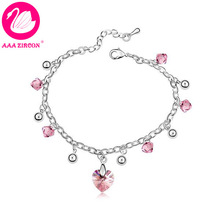 Free Shipping!!! Women's 18K White Gold Plated Beads & Pink Heart Shaped Crystal Bracelet Made With Swarovski Elements (7902)(China (Mainland))