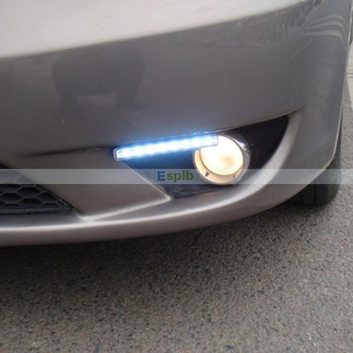 8 LED 2PCS DRL Driving Daytime Running Day LED Light Head Lamp Super White Car LED Day Light(China (Mainland))