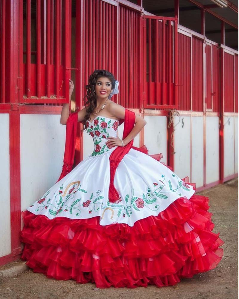 Hot sale white and red tiered draped embroidery for Mexican wedding dresses for sale