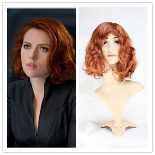 The Avengers Black Widow Cosplay Wig Anime Party Natasha Romanoff Short Curly Synthetic Hair Wigs Peruca Pelucas<br><br>Aliexpress