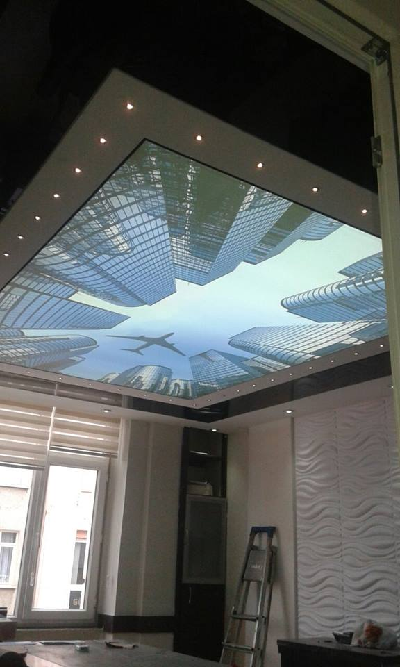 SV-1013 airplane flying between skyscrapers PVC ceiling film overlook to sky stretch ceiling film decorative films(China (Mainland))