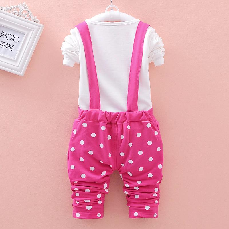 2015 New Autumn Kids Baby Girl Clothing Sets Little Girls Clothes Set Dot Overalls Toddler Girl Clothing Minnie T shirt