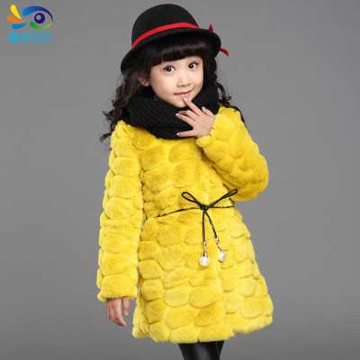 Autumn Winter Girls Faux Fur Coat Children O-Neck Thicken Parkas 2016 Fashion Girls Long Rabbit Fur Outerwear Overcoat H6857<br><br>Aliexpress