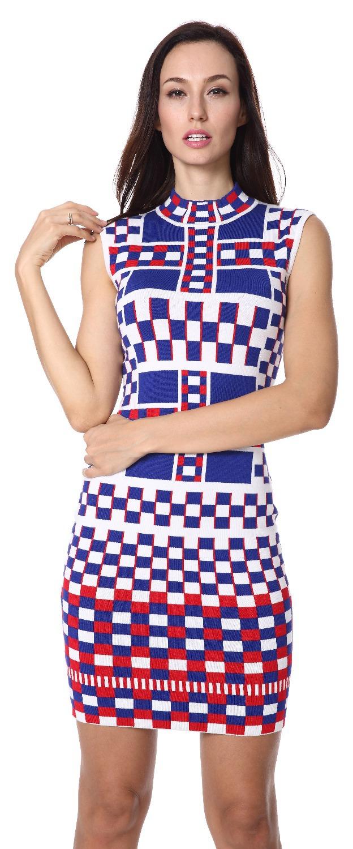 2015/16 party dress Women's mandarin collar Fashion Multi - Color Jacquard Sleeveless evening Dresses Lenie fashion store
