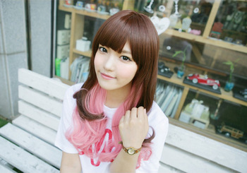 Ladies Fashion Sexy Women's Long Silky Ombre Pink U Part Cosplay Wig