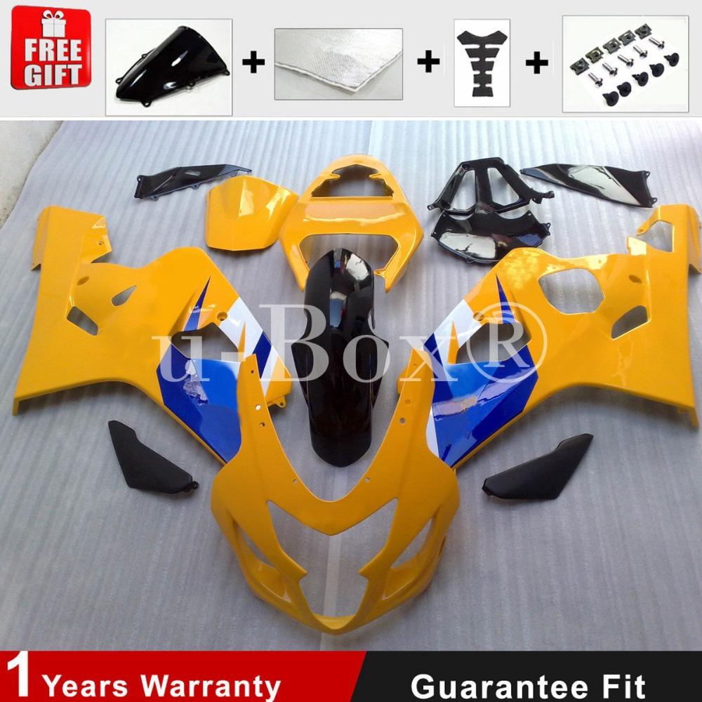 ABS Plastic Injection Mold for 04 05 Suzuki GSXR 600 750 K4 K5 Fairing Yellow Bodywork +Brand Logo Decal(China (Mainland))