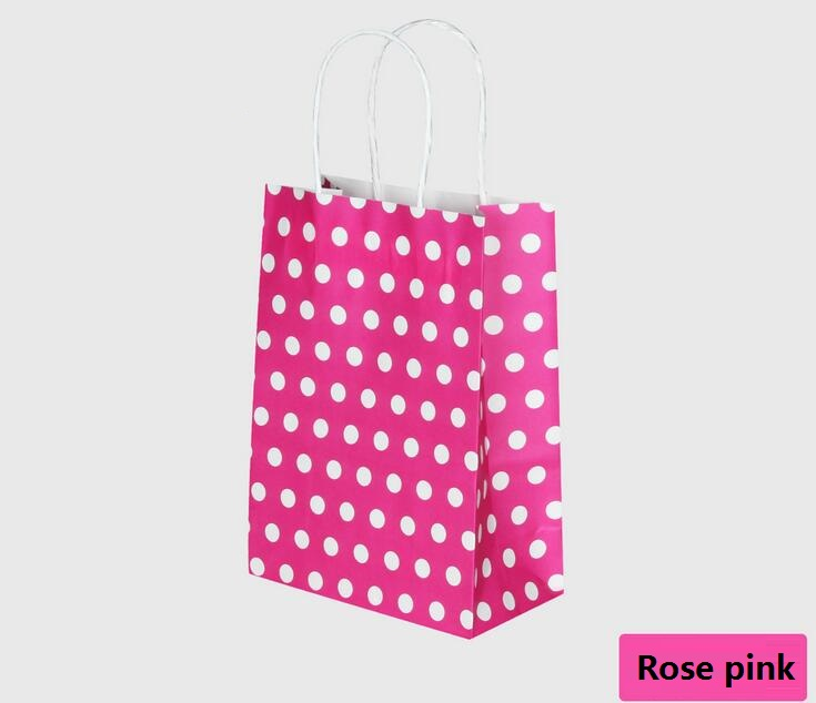 21X15X8CM kraft paper bag with handle/ Multifunction wedding party dotted rose pink color polka dot bag(China (Mainland))
