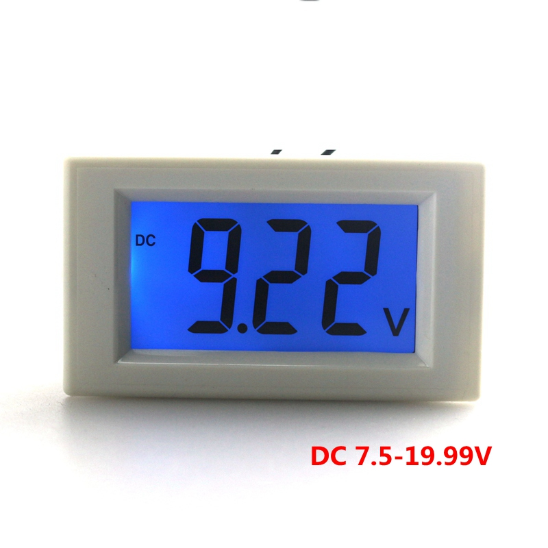 DC 7.5-19.99V digital voltmeter for car motorcycle battery monitor voltage volt panel meter with LCD blue backlight(China (Mainland))