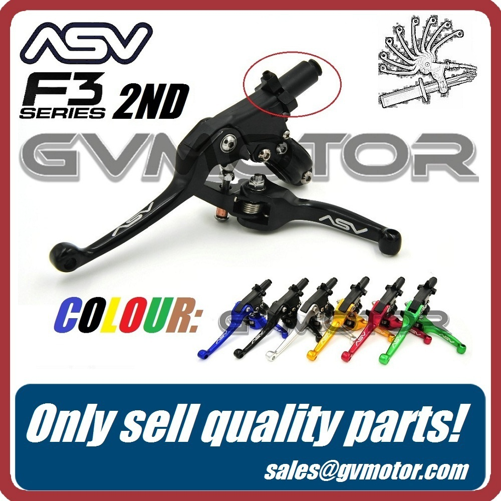 Aluminum ASV F3 Series 2ND Clutch & Brake Folding Lever Fit Most Motorcycle ATV Dirt Pit Bike WR KLX CRF YZF RMZ Free Shipping(China (Mainland))