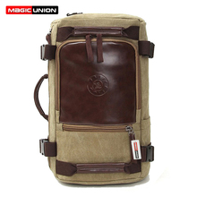 MAGIC UNION Men's Travel Bags Casual Men Canvas Shoulder Backpack With Three Large-capacity Multi-purpose Bag men backpacks(China (Mainland))