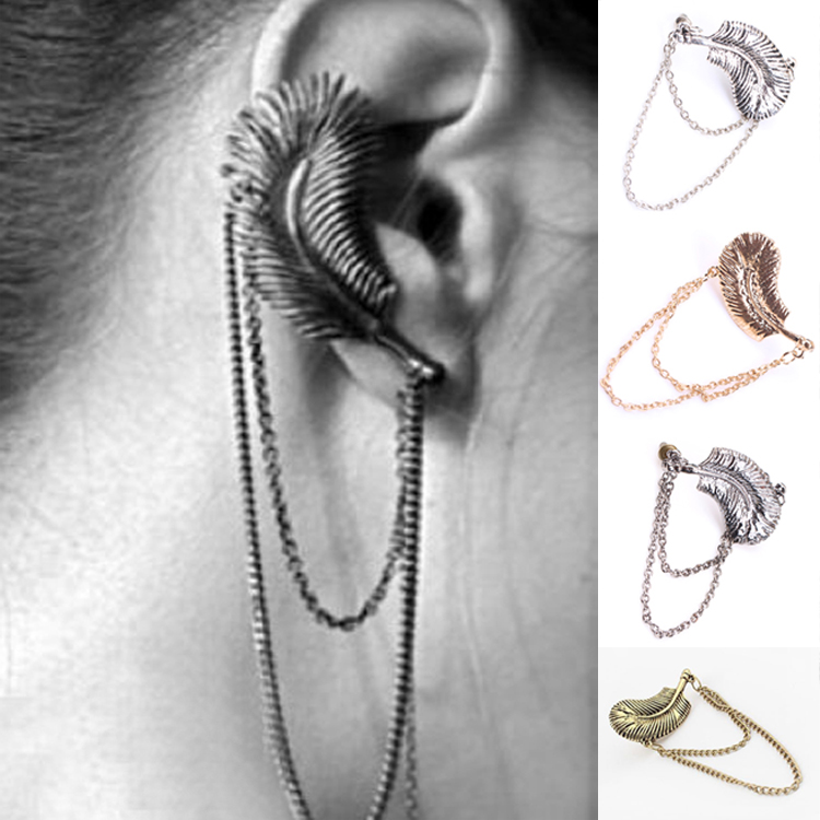 1 PC Retro Feather Shaped Ear Cuff Gothic Punk Style Women Girls Ear Clip Earring Fashion Charm Jewelry EAR-015275(China (Mainland))