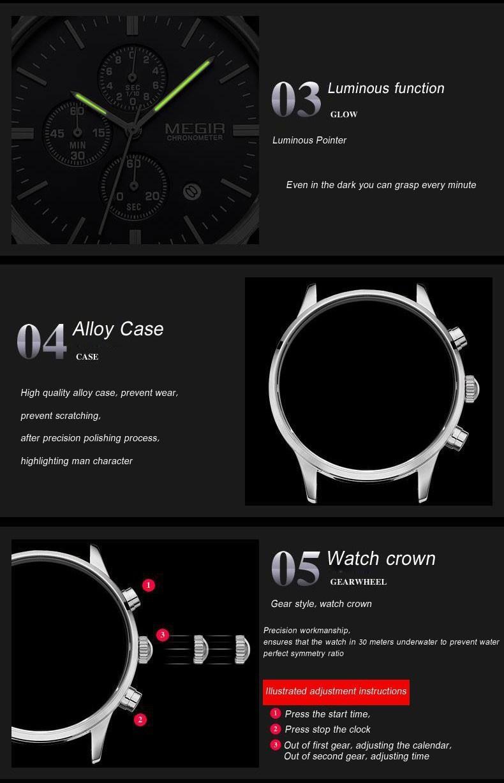 2016 Мода Марка Роскошные Часы Военные Часы Мужчины Подлинная Кожаный Ремешок Часы Водонепроницаемый Хронограф Функция Бесплатная Доставка