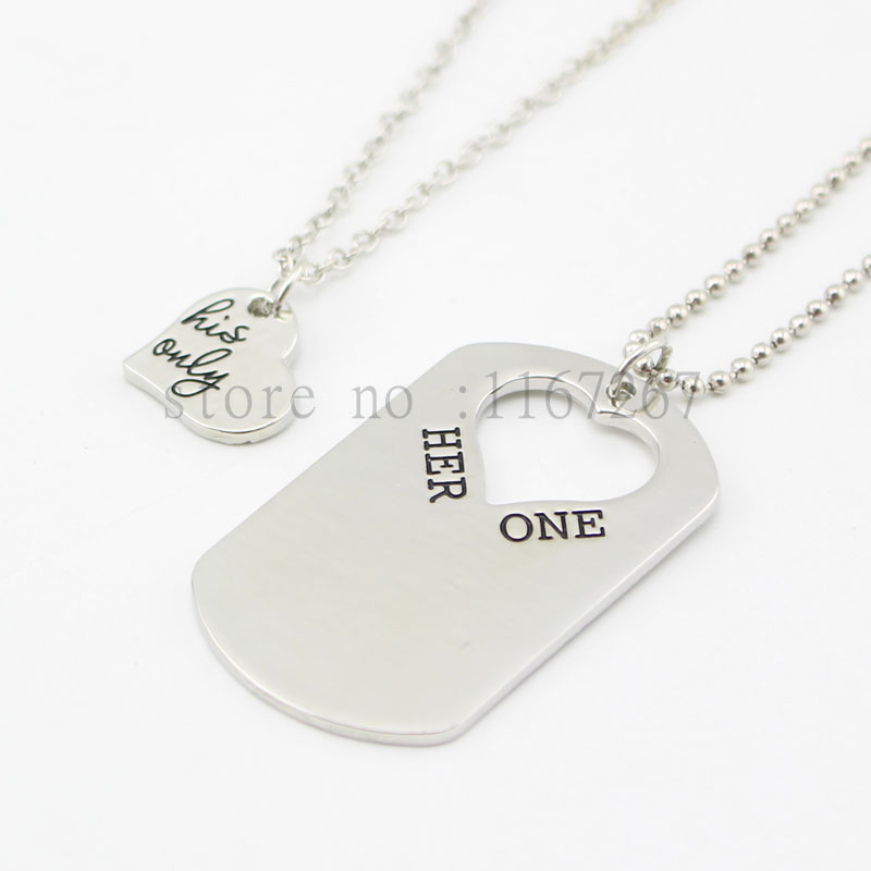 "2015 Lovers' ""Her One His Only""Dog Tag Set The Original Hand Stamped Couples Jewelry Gift for Couple Newlyweds Keychain&necklace(China (Mainland))"
