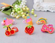 2Pcs Kids Girl Baby Elastic Rubber Hair Bands Ponytail Holder Bird Head Rope Ties Red Pink color