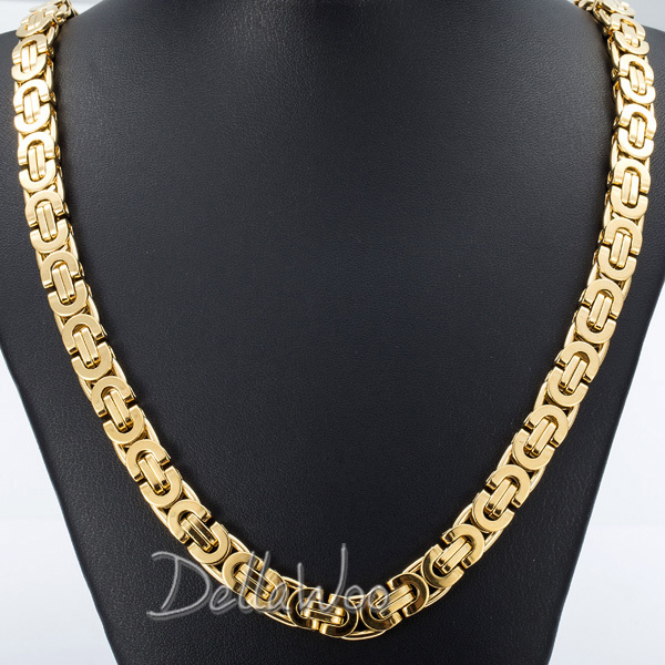 6/8/11mm Mens Chain Flat Byzantine Gold Silver Tone Stainless Steel Necklace Chain Customize Size 18-36inch Gift Jewelry DKNLM24(China (Mainland))