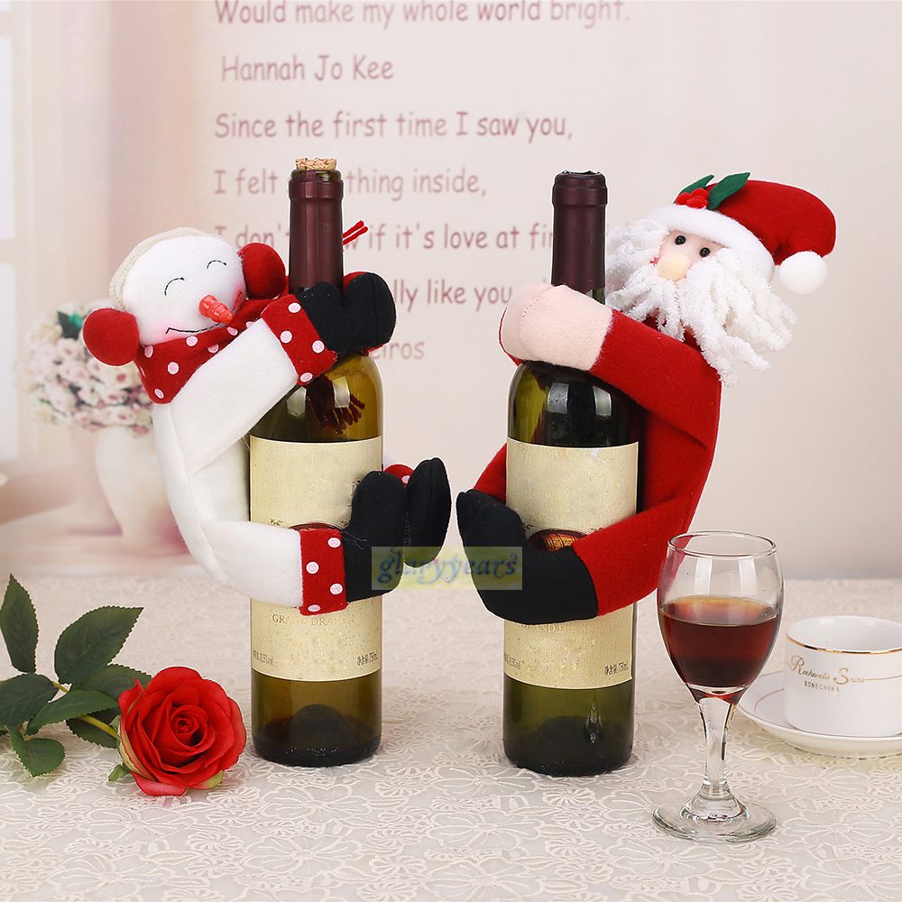 2015 new towel bottle cover christmas home table holiday for Santa decorations