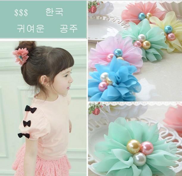 New summer Princess Dress Headwear 3 Pearls Chiffon Flower 5 Colors Elastic Hair Band girls Hair Accessories Children headband(China (Mainland))
