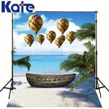 5ftx7ft Photo Background wooden boat sea beach sky air balloon Photography backdrops Studio For Interior Photos Custom size