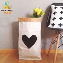 Ins мода эко-сельское дружелюбны тяжелый крафт-бумажный мешок детская комната игрушки организатор складной хранения сумки