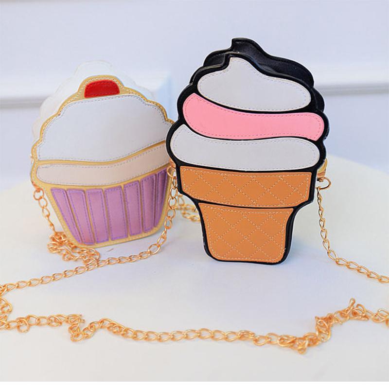 Women bag ice cream cake messenger bags cartoon cute shoulder bags small emjoy orange watermelon stripe shells hamburger unicorn(China (Mainland))