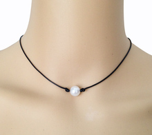 10mm cultured pearl necklace single pearl black leather necklace real floating pearl jewelry best friend pendant women jewellery(China (Mainland))