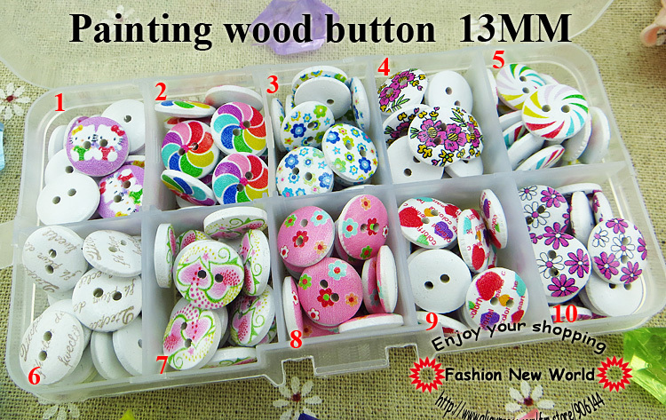 200pcs(10style*20) flower handmade diy accessories kid clothes wood round button 13mm MCB-902(China (Mainland))