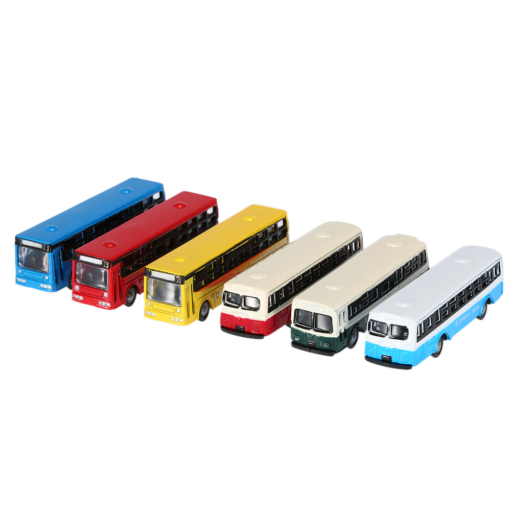 6Pcs/Set Bus Model Alloy Frame Cool Styling Vehicle Model Car for Kids Intelligence Development Toy Vehicles 1:150 Scale(China (Mainland))