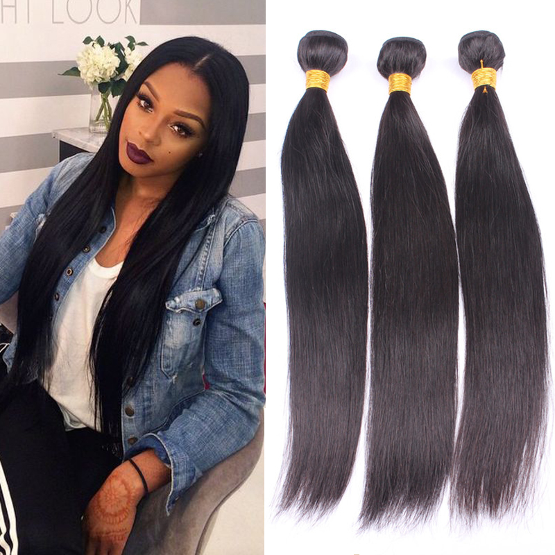 5A Top quality Eurasian virgin hair straight 3PCS human hair weave extensions natural black color unprocessed Eurasian hair