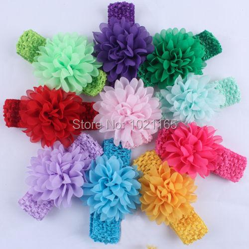 Free shipping 10pcs childern/ Baby hairband Girls Hair Accessories Baby Girl Chiffon Flower crochet Headband Infant Hair(China (Mainland))