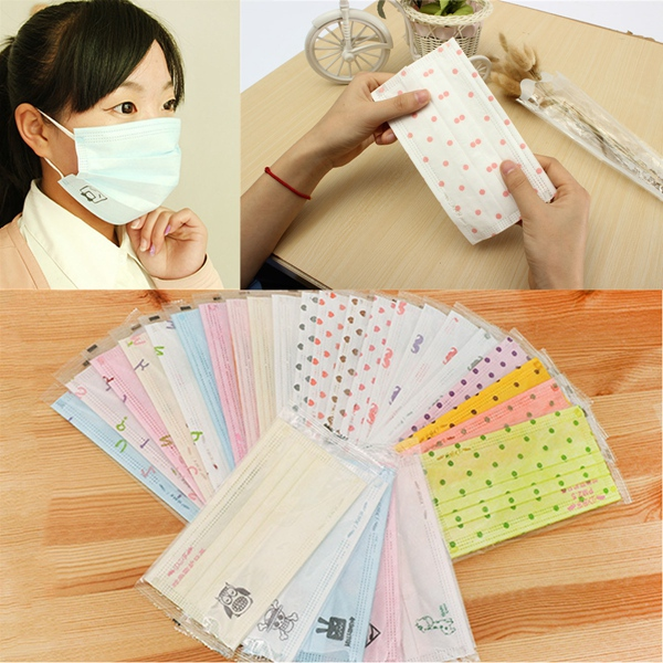 Wholesale 5pcs Non woven Disposable Face Mask Candy Color Salon Dust Proff Ear Loop Medical Mouth Full Masks Random Send(China (Mainland))