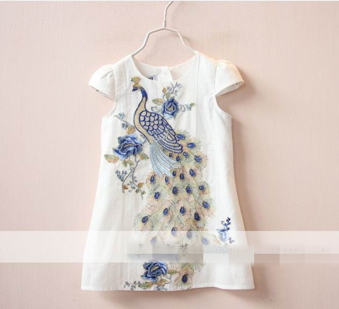 2016 New Girl Dresses Fashion Golden Silk peacock Sleeveless Dress Children Clothing 2-8 T 15434<br><br>Aliexpress