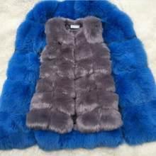 フェイクスライバーキツネの毛皮のベスト女性の冬のファッションミディアムロング人工キツネの毛皮のベスト女(China)