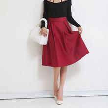 Autumn Winter Fashion Womens High Waist A-Line Knee-Length Midi Skirt Vintage Retro Pleated Hepburn Skirts saias femininas S2327