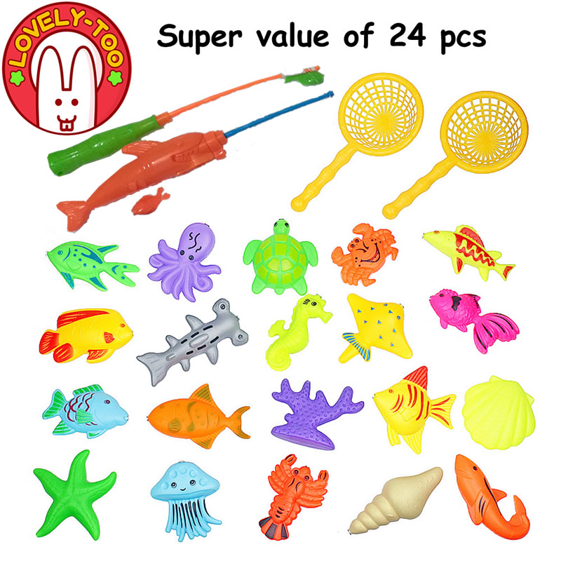 Lovely Too 24PCS Magnetic Fishing Toys Game Plastic Fish Rod Parent Children Funny Boys Outdoor Fun toy Gifts(China (Mainland))
