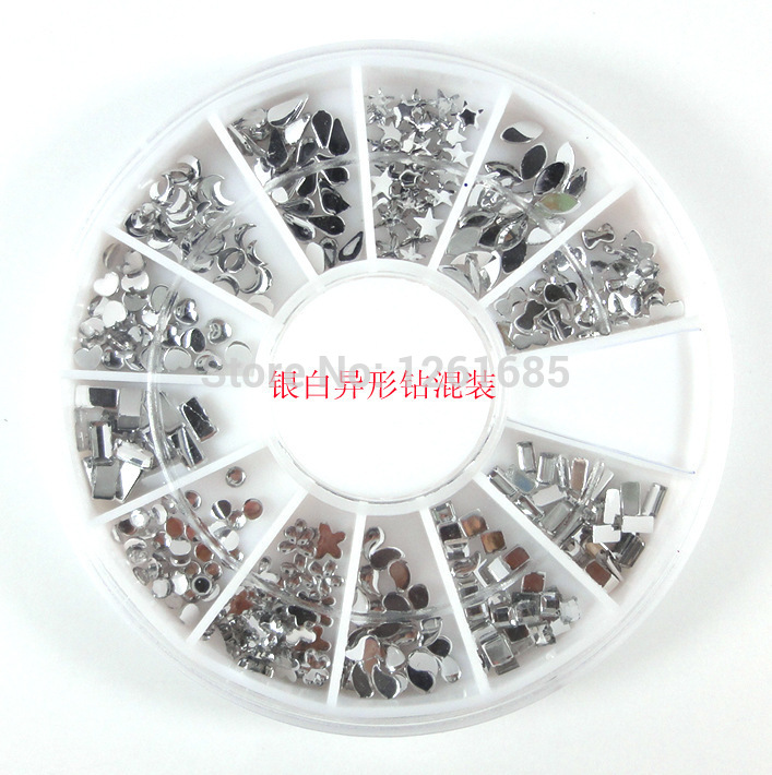 buy 3 get 1 nail decoration silver acrylic nail