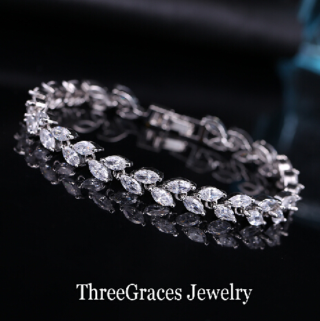 2015 Luxury Bridal Bracelet Sliver Plated Sparkling White Cubic Zircon Diamond Women Bracelets For Wedding Jewelry BR024