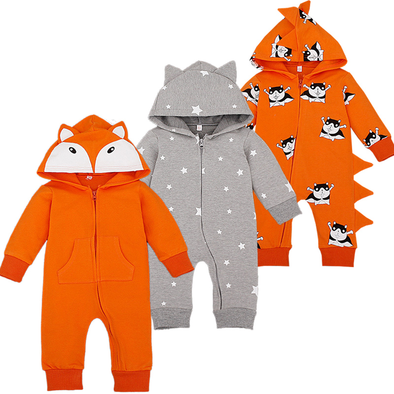 Cartoon Overalls Cotton Newborn Baby Rompers Long Sleeve Hooded Infant Coverall Spring Autumn Newborn Roupa Infantil Bebe Romper