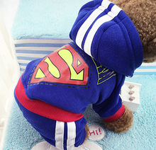 2016 hotsale 4 legs Dog clothes,pets coats,puppy dog hoodie Superman /Bat winter clothes sweater costumes size XS -XXL 9 colors(China (Mainland))
