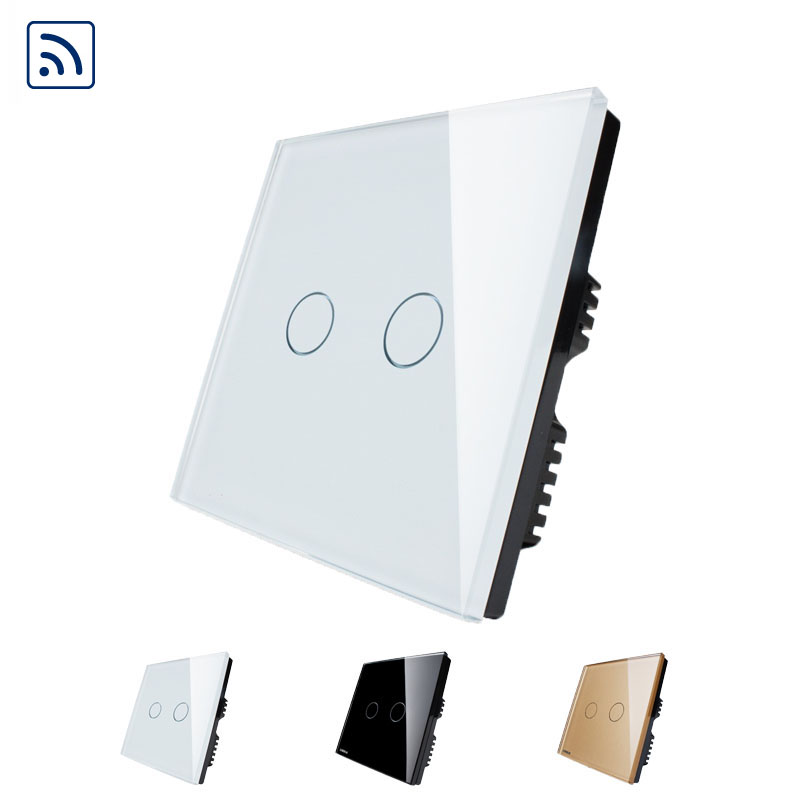 Free shipping Livolo Crystal Glass Panel, Digital Remote Light Switch 2 Gangs 1 Way Home Light Touch Switch Wall Switch(China (Mainland))