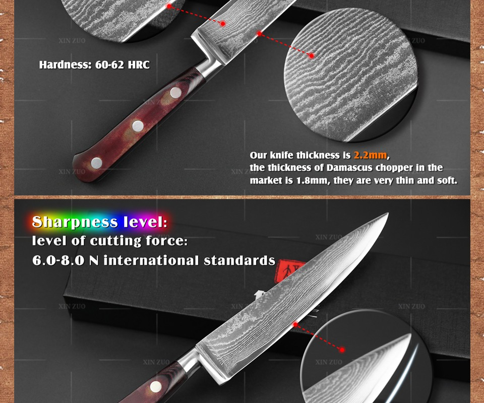 "Buy 6"" inch chef knife 73 layers Japan Damascus steel kitchen knife with Color wood handle high quality sharp knife free shipping cheap"