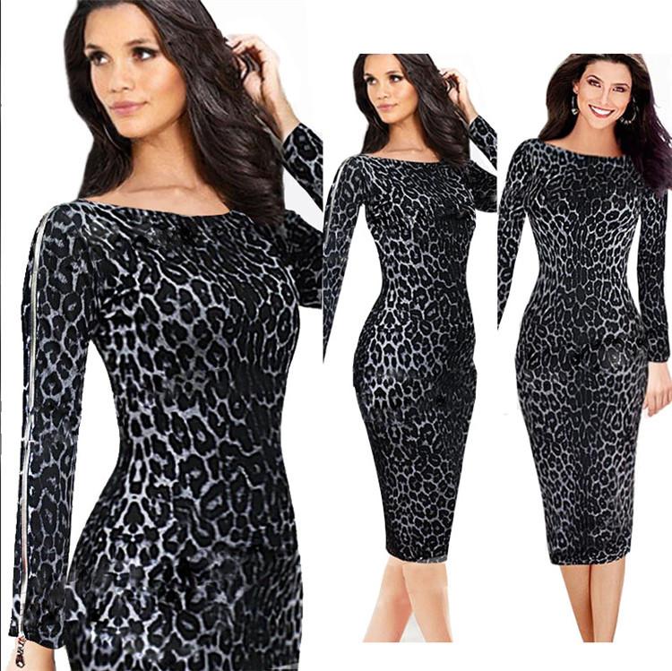 2015 году herbstmode für frauen schwarzen leoparden kleid vestidos де фиеста langarm damen элегантный sterne liebe midi Ланге kleider bleistift